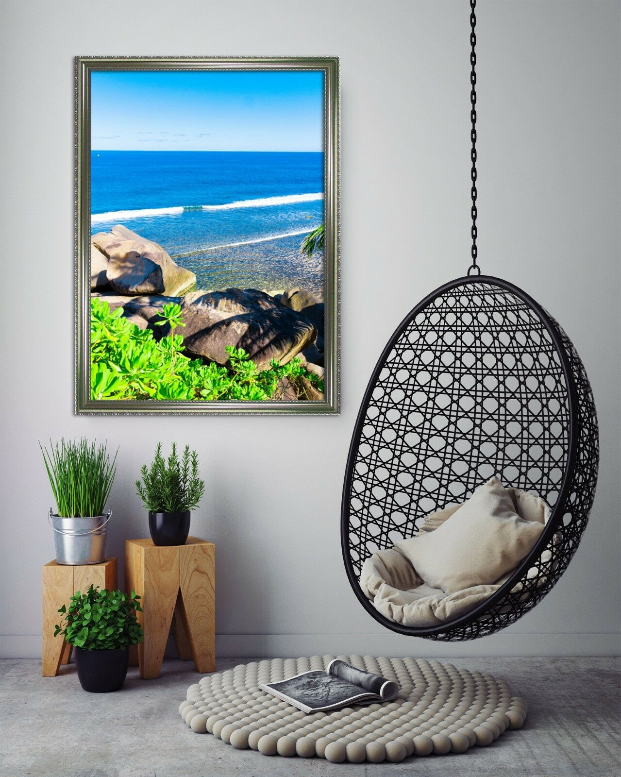 3D Seaside Stone 51 Framed Poster Home Decor Print Painting Art AJ UK