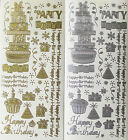 HAPPY BIRTHDAY Party Cake Presents Hats Borders PEEL OFF STICKERS Cardmaking