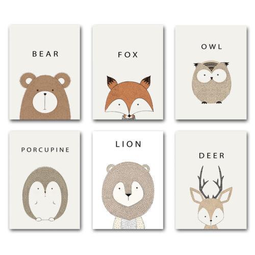 Cartoon Animal Bear Lion Deer Canvas Nursery Poster Minimalism Art Painting 005
