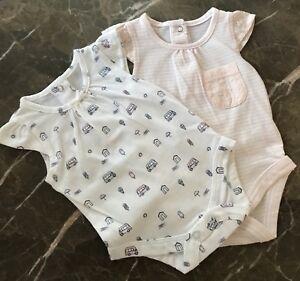 582d484a1 NEW BABY GIRLS 2PK NEWBORN INFANT BODYSUIT ROMPER JUMPSUIT SUMMER ...