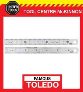 FAMOUS-TOLEDO-150B-6-150mm-6-034-STAINLESS-STEEL-DOUBLE-SIDED-METRIC-amp-A-F-RULE