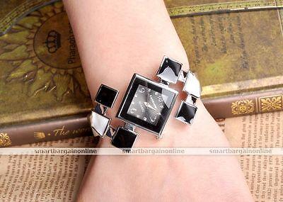 Square Case Analog Silvery Cuff Bangle Wrist Quartz Watch Lady Girl's Jewellery