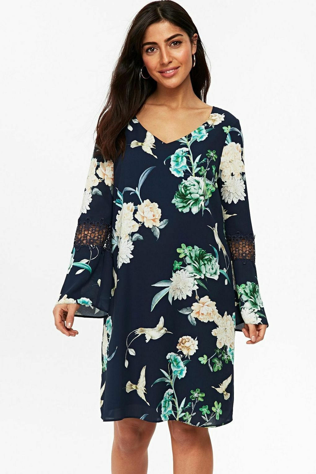 BNWT Wallis Multi Navy Oriental Floral Shift Dress 12