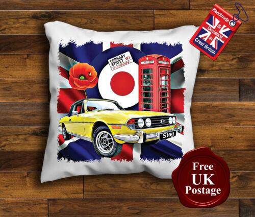 Phone Box, Triumph Stag Cushion Cover Union Jack Yellow Stag Cushion