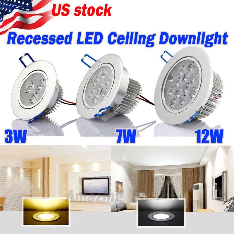 US Ship 6 12X 3W 7W 12W LED Downlight Ceiling Recessed Light Bult Lamp 110-220V