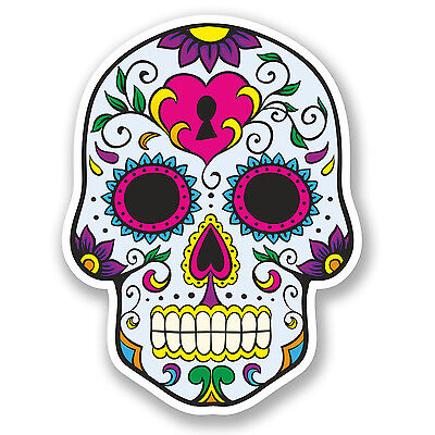 2 x Sugar Skull Vinyl Sticker Decal Mexican Spanish Mexico Day of the Dead #5668