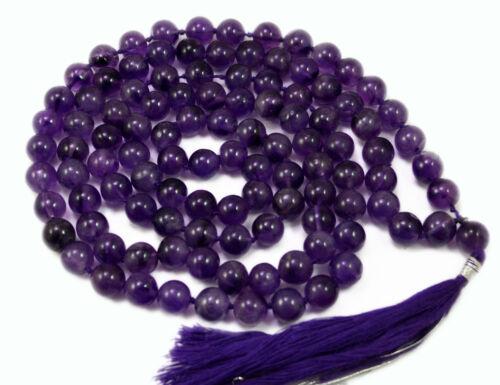 108 prière méditation 9.3 mm Violet Amethyst bouddhiste perles JAP Mala Collier