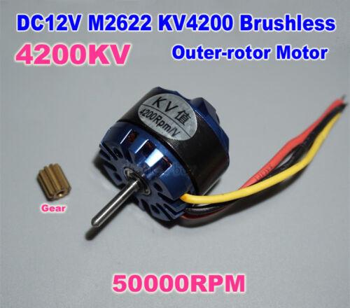 DC12V M2622 model KV4200 Brushless Outer-rotor Motor 50000RPM For Airplane