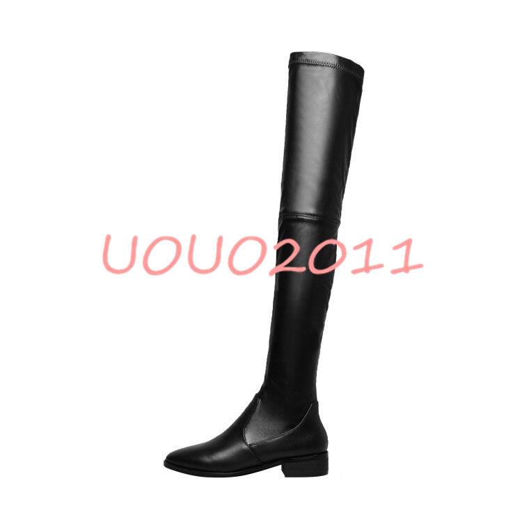 Para mujeres Cuero Zapatos Real Suede sobre la rodilla muslo botas Zapatos Cuero Elástico Tirar De Alta 403e04