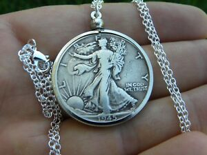 1943 Authentic circulated silver walking liberty half  dollar  coins  necklace