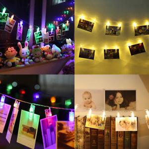 10-20-Led-Appesa-Picture-Foto-Peg-Clip-FAIRY-stringa-luci-decorazione-Festa-Uk