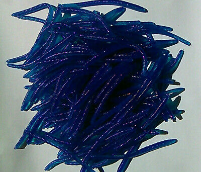 """26 pack of scented 2 3//8/"""" BLUEBERRY floating finesse worms for trout steelhead"""