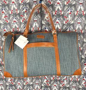Adrienne-Vittadini-Studio-Large-Blue-Canvas-Duffle-Bag-With-Adj-removable-Strap
