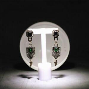 Boucles-d-039-Oreilles-Clous-Dore-Art-Deco-Long-Rectangle-Vert-Emeraude-Noir-A7