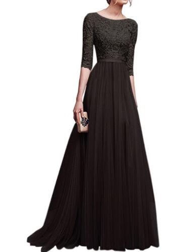 Longue mousseline robe de soirée robe de bal robe de fete robe manches 3//4 s-3xl bc443