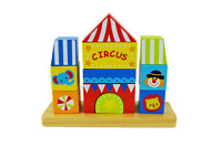 Wooden Blocks Stacking Toy, Circus Stacker Blocks, Wooden Toddler Toys