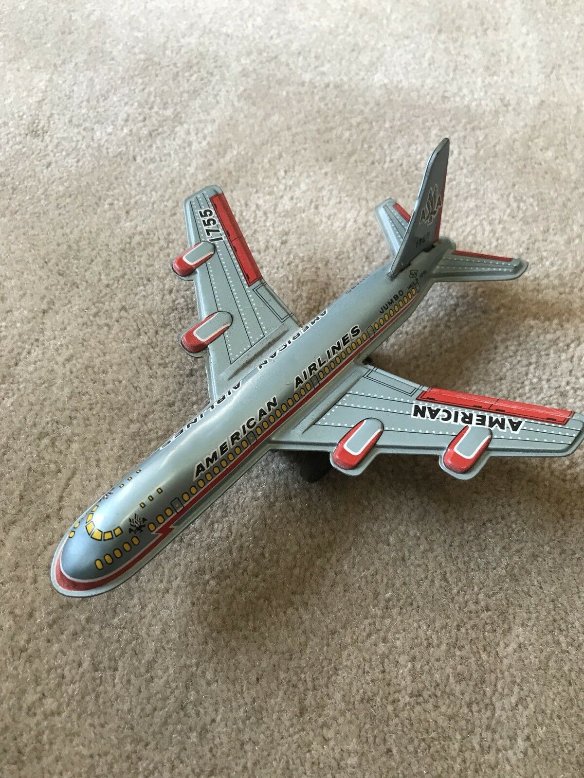 Vintage American Airlines Tin Litho Friction Airplane Saito Brand Made In Japan
