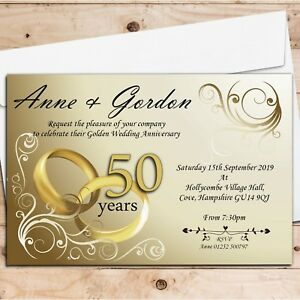 Details About 10 Personalised Elegant Golden 50th Wedding Anniversary Party Invitations N1