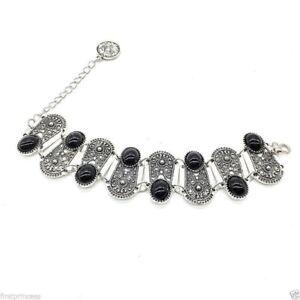 pulsera-etnica-tribal-aleacion-vintage-Ethnic-Boho-Carved-Black-Gem-Bracelet