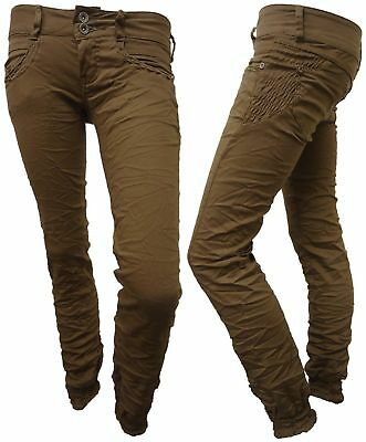LADIES SKINNY CHINO TROUSERS WOMENS CUFFED JEANS 6-14