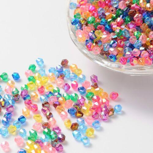 100 Bicone 4 mm x 4 mm Acryl transparent glänzend Loch 1mm Perlen Basteln