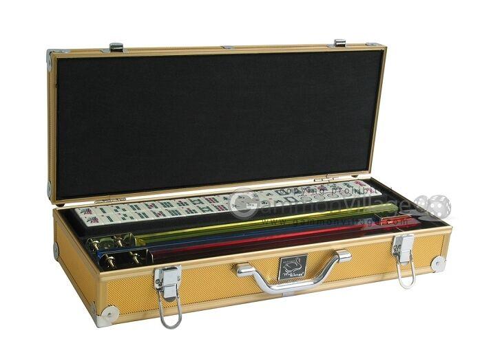 blanc Swan Mahjong Set-Ivoire Carreaux, or boîtier en aluminium, poussoirs non inclus