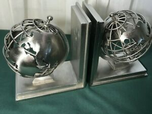 Globe-Bookends-Heavy-Solid-Silver-Metal-Restoration-Hardware-Both-Spin