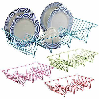 Metal Wire Coated Dish Rack Kitchen Sink Drainer Washing Up Draining Holder Tray