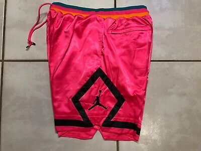 5361fbee84814a NWT Rare NIKE JORDAN Satin Diamond PINK Basketball Shorts Men s Large  AR3877-639