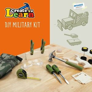 Create & Learn Kids DIY Military Project Kit with Real Tools & Camo Vest