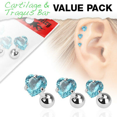 3 Pc Clear Ferido Ball Ear Cartilage Daith Tragus Helix Earrings Barbell Studs