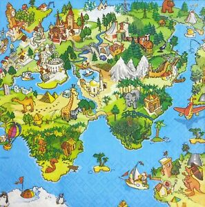 Details about 3x Single Paper Napkins For Decoupage Craft Tissue World Map  America Europe N143
