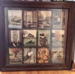 Homco-B-Mitchell-Framed-Glass-Window-Pane-Church-Autumn-Farm-Home-Interiors-Rare