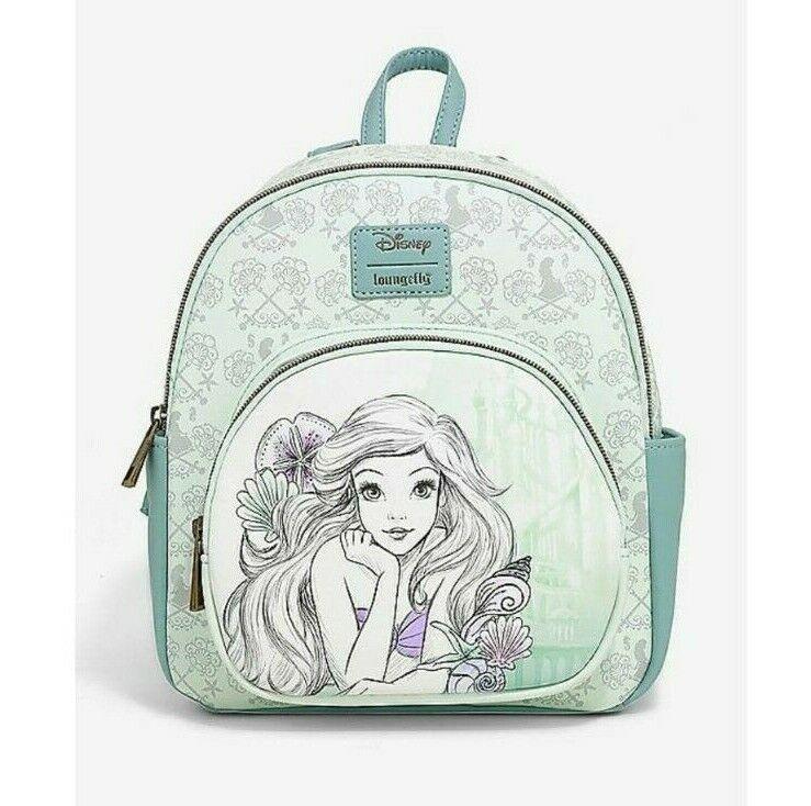 NWT Loungefly Disney Little Mermaid Ariel sketch Rose Gold Mini Backpack Bag