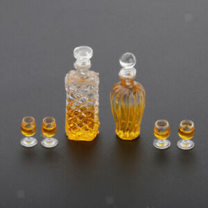 Bottle vintage style whiskey and glass mini handmade for dollhouse miniature