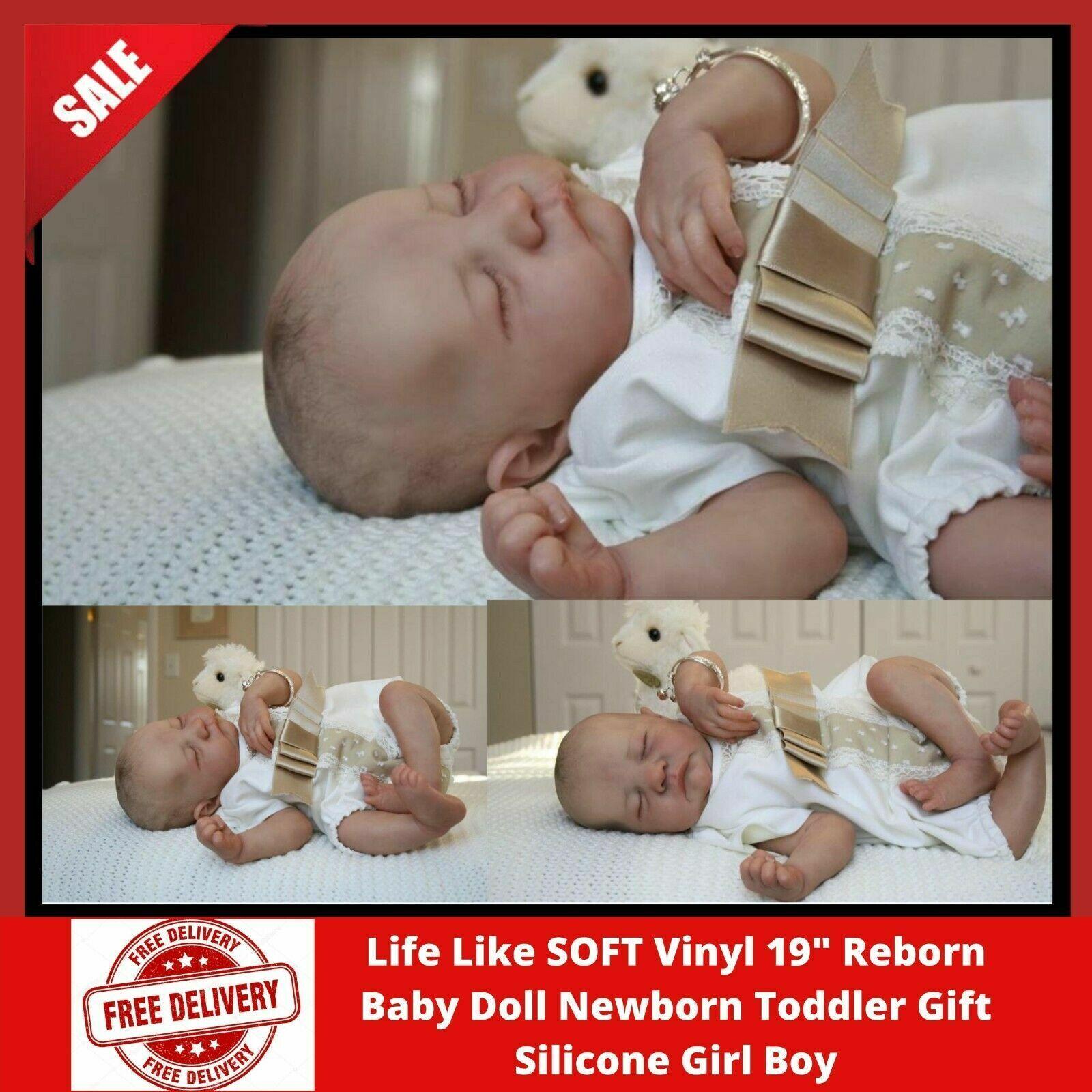 "SOFT Vinyl 19"" Reborn Baby Doll Newborn Toddler Gift Silicone Girl Boy"