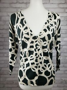Cabi-cardigan-size-L-black-beige-linked-rings-pattern-cotton-blend-3-4-sleeves