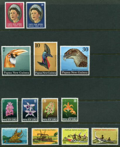 1974 Papua New Guinea. Full set of stamps of the year MUH. CV 10.60.