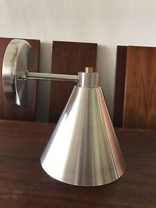 50's 60's SPUN ALUMINUM SCONCE DOUBLE CONE BOW TIE EAMES ERA MID CENTURY MODERN
