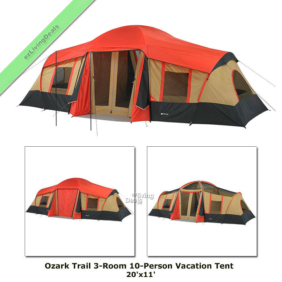 Camping Tent 10 Person Ozark Trail 3 Room 20' x 11' Large Outdoor Camping Cabin
