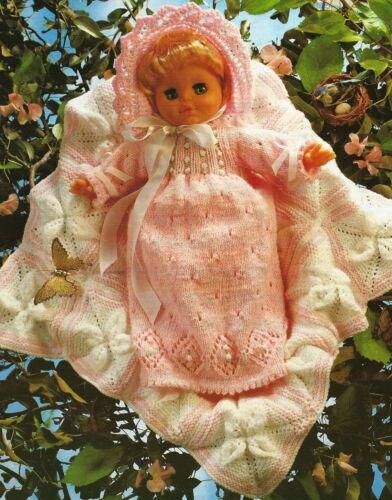 """1433 Baby Girl Doll DK Dress Bonnet Blanket Vintage Knitting Pattern Tall 16-24/"""""""