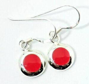 Koralle-Ohrringe-Rot-Tuerkis-Ohrhaenger-zierlich-rund-925-Sterling-Silber-Neu
