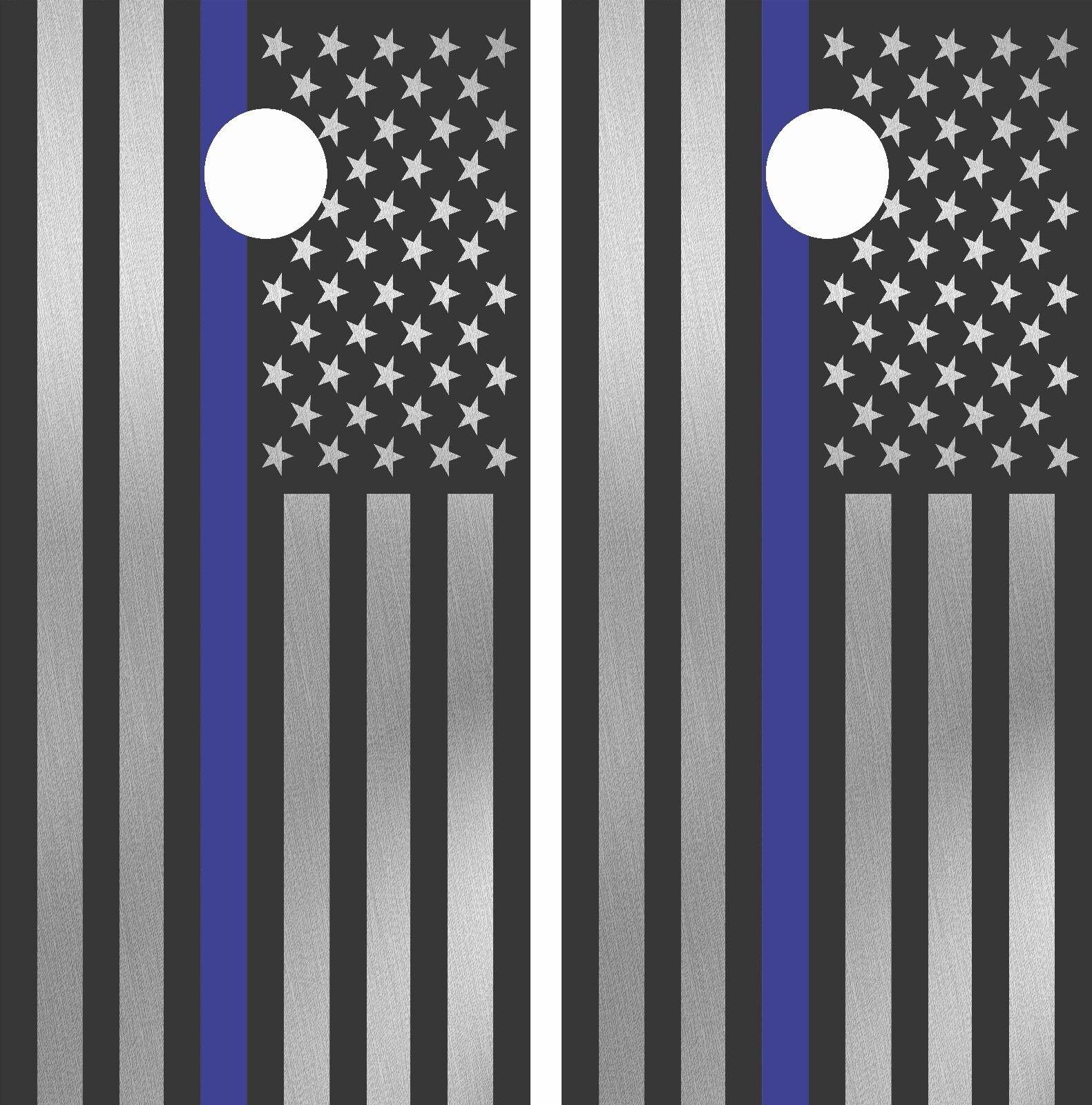 Cornhole Board Wraps (2x) Police Thin  bluee Line American U.S. Flag Decal Mk003CB  outlet