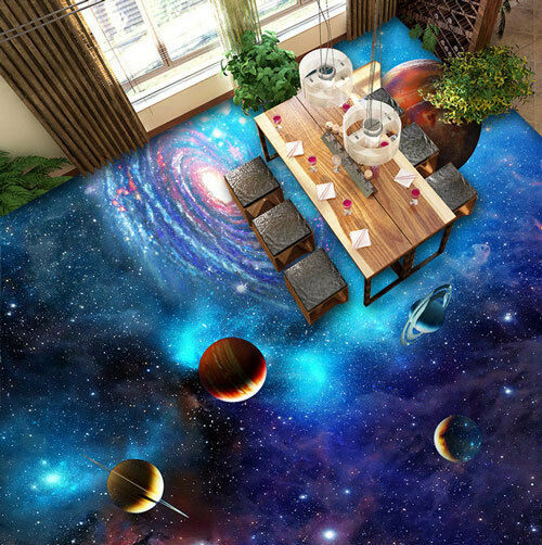 3D Planets Stars Galaxy Universe Floor Mural Photo Flooring Wallpaper Wall Decal