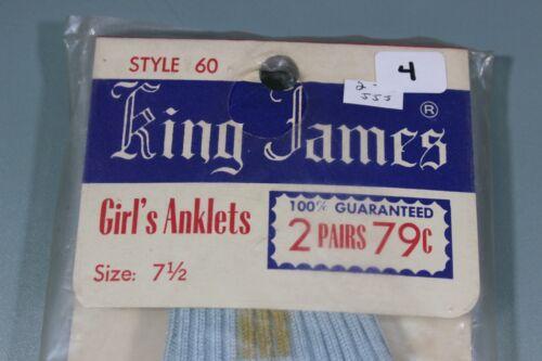 1 1950's Taglia 2 blu Vintage Women's Nwt 7 Calzini Nos Pr 2 giallo da 4 donna Girls qwAW6F