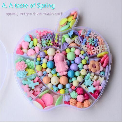 300-650pcs Mix Color Plastic Beads Set Kids Crafts W /'Cordon en fruits-Shape Case