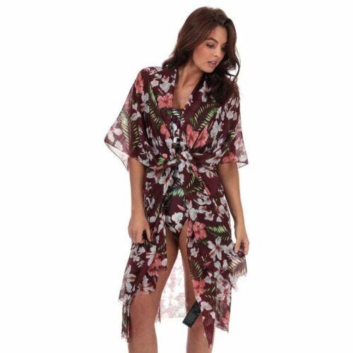 Women/'s Vero Moda Lena Beach Kimono Style Cover Up Open Front Poncho in Red