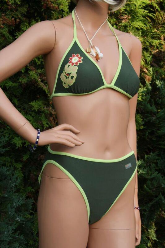 Pezzo di sotto del bikini taglia UK 10 Giada Verde//Rosa Rose Floozie Donna Costumi Da Bagno Nuovo Con Etichetta