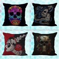 Us Seller4pcs Wholesale Cushion Covers Calavera Sugar Skull Day Of The Dead