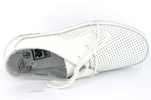 Ausverkauf Damen Down To Earth Leder Schnürbar Flache Schuhe F3098 Schwarz Weiß